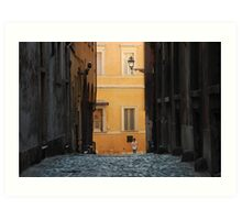 Orange Wall in a Roman Streetscape Art Print