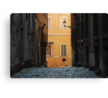 Orange Wall in a Roman Streetscape Canvas Print