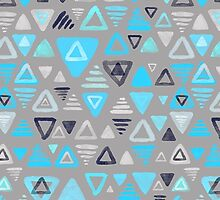 Summer Turquoise Triangles on Grey by micklyn