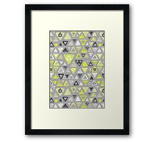 Summer Yellow Triangles on Grey Framed Print