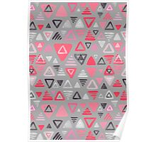 Summer Melon Hot Pink Triangles on Grey Poster