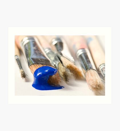 Blue Brush Art Print