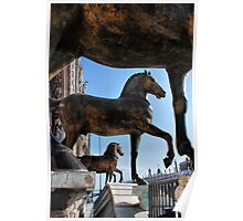 Horses at St Mark's Basilica Poster