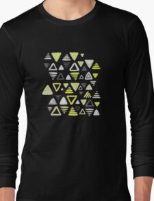 Summer Yellow Triangles on Grey Long Sleeve T-Shirt