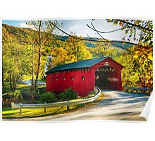 Red Covered Bridge in the Green Mountains Poster
