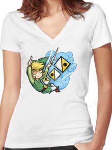Zelda Wind Waker Wind's Requiem  Women's Fitted V-Neck T-Shirt