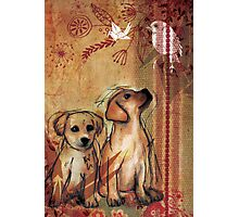 Two Puppies- Mixed Media Photographic Print