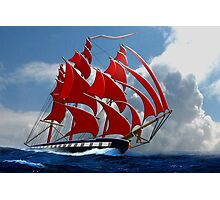 The Clipper Ship Indian Queen Races for Home Photographic Print