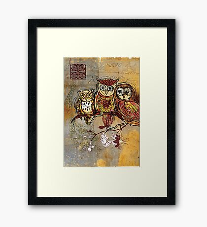 Patchwork Owls- Mixed Media Framed Print