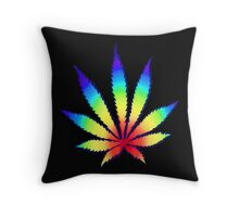 Rainbow Dope Leaf Throw Pillow