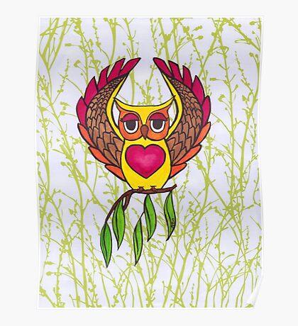 Owl heart Poster