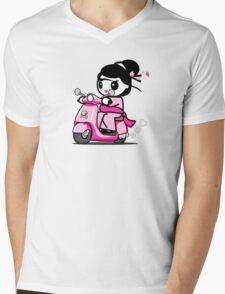 Scooter Geisha Mens V-Neck T-Shirt