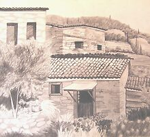 Stone Houses, Manolates, Samos, Gr. by JANET SUMMERS