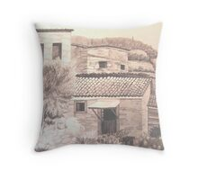 Stone Houses, Manolates, Samos, Gr. Throw Pillow