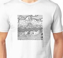 Beach with Waves and Driftwood Unisex T-Shirt