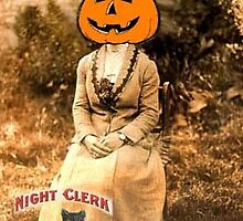 NIGHT CLERK PUMPKIN HEAD by Frances Perea