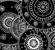 Lacy White Mandalas on Black Sticker