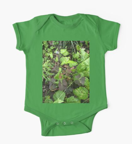 Red Three Leaved Clover Nature Foliage One Piece - Short Sleeve
