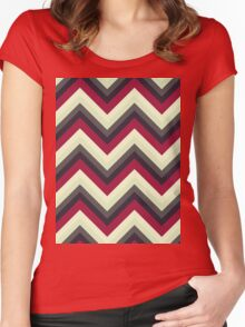 Modern Red Chevrons Women's Fitted Scoop T-Shirt