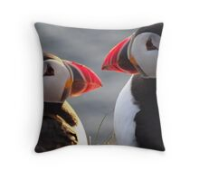 Puffin Twins? Throw Pillow