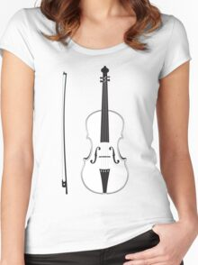 Violin Silhouette Women's Fitted Scoop T-Shirt