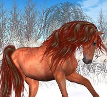 Colour in Midwinter .. a chestnut horse by LoneAngel