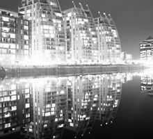 Designer apartments at night, Salford Quays, Manchester. by cheekybuster