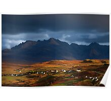 The Cuillins and Carbost, Isle of Skye, Scotland. Poster