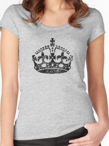 Distressed Grunge Keep Calm Crown Women's Fitted Scoop T-Shirt