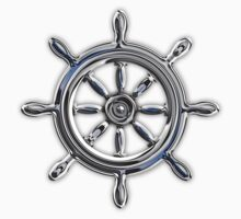 Chrome Style Nautical Wheel Applique Kids Clothes