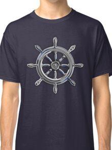 Chrome Style Nautical Wheel Applique Classic T-Shirt
