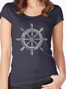 Chrome Style Nautical Wheel Applique Women's Fitted Scoop T-Shirt