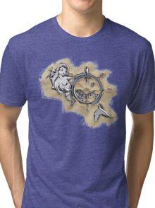 Chrome Mermaid in Sand Tri-blend T-Shirt