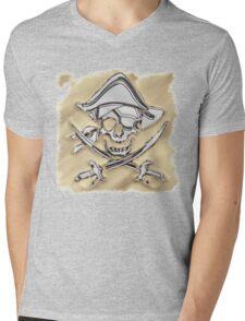 Chrome Pirate Crossbones in Sand Mens V-Neck T-Shirt