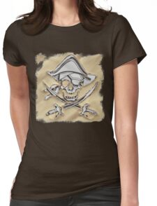 Chrome Pirate Crossbones in Sand Womens Fitted T-Shirt