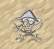Chrome Pirate Crossbones in Sand by Garaga