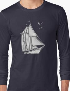 Chrome Style Nautical Sail Boat Applique Long Sleeve T-Shirt