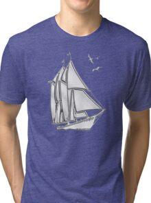 Chrome Style Nautical Sail Boat Applique Tri-blend T-Shirt