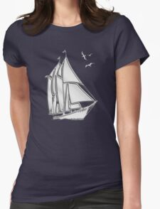 Chrome Style Nautical Sail Boat Applique Womens Fitted T-Shirt