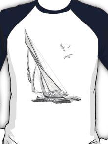 Chrome Style Nautical Sail Boat Applique T-Shirt
