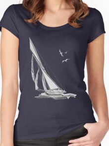 Chrome Style Nautical Sail Boat Applique Women's Fitted Scoop T-Shirt