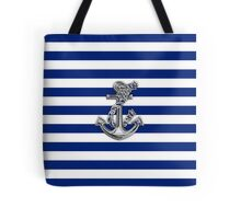 Chrome Style Nautical Rope Anchor Applique Tote Bag