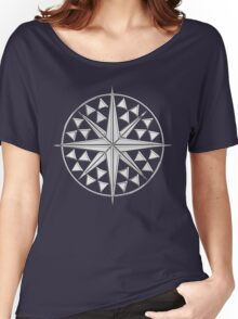 Chrome Style Nautical Compass Star Women's Relaxed Fit T-Shirt