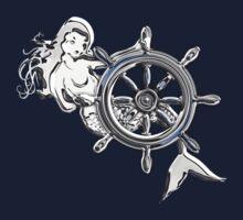 Chrome Style Nautical Mermaid Applique T-Shirt