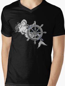 Chrome Style Nautical Mermaid Applique Mens V-Neck T-Shirt
