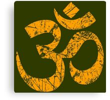 OM Yoga Spiritual Symbol in Distressed Style Canvas Print