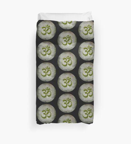 Om Ohm Namaste Yoga Circle  - Black Green Duvet Cover