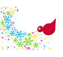 Little Red Bird Photographic Print