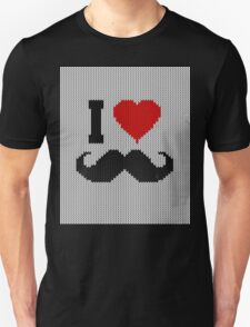 I Love Mustache in Knitting Motif Style T-Shirt