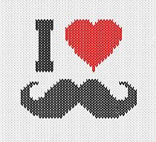 I Love Mustache in Knitting Motif Style by Garaga